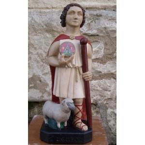 Small painted Saint-Uguzon statue