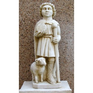 Petite statue couleur pierre de Saint-Uguzon
